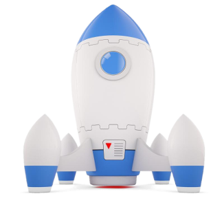 blue and white rocket ready to take off